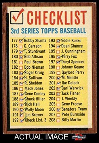 1962 Topps # 192 COM Checklist 3 (Baseball Card) (Has Comma, says #192 Check List, 3) Dean's Cards 1.5 - FAIR