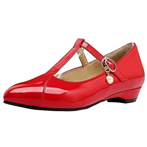 907b00c5a9e20c Coolulu Damen Lack Riemchen Pumps Flach Spitz T-Spangenpumps 2cm Absatz  Frühling Sommer Schuhe (