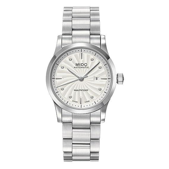 Mido Multifort M0050071103600 - Reloj para mujeres, correa de acero inoxidable color plateado