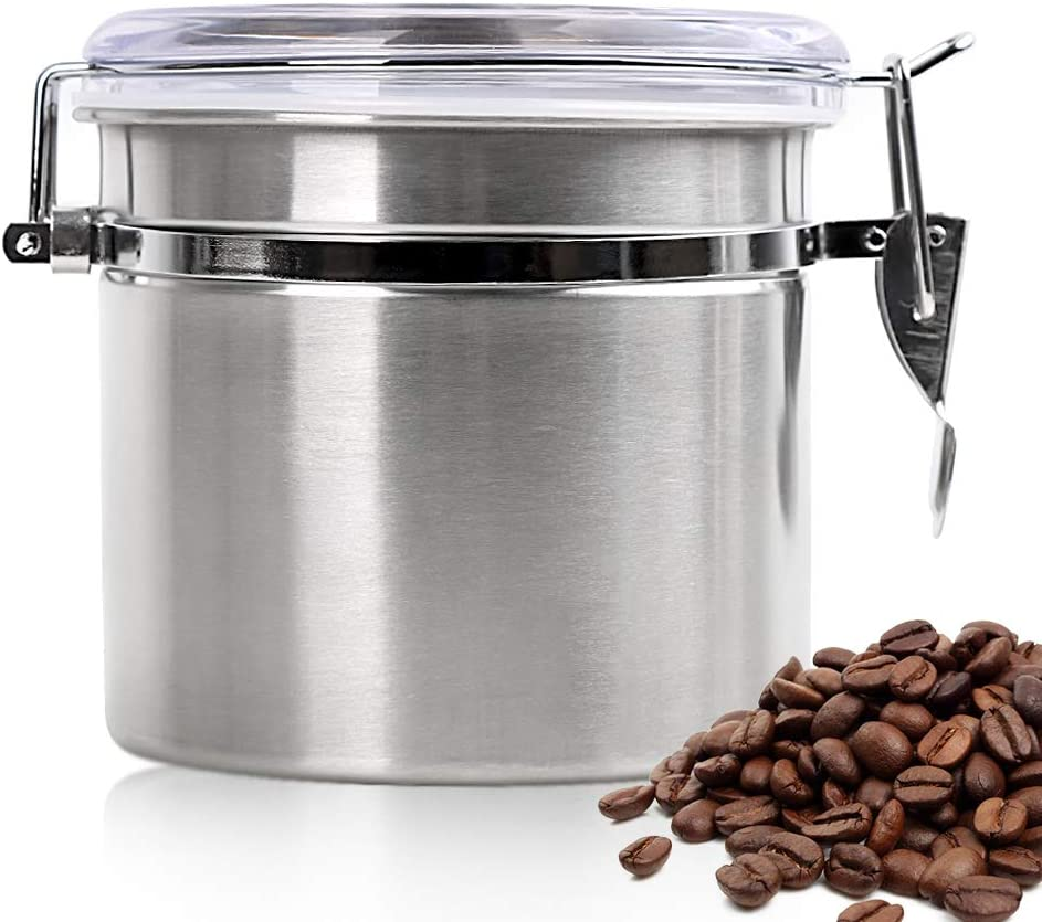 Coffee Tea Canister Airtight 12oz/1L - Stainless Steel Storage Jar Tin Caddy for Kitchen Pantry Organization - Medium Round Food Containers for Sugar Nuts Flour