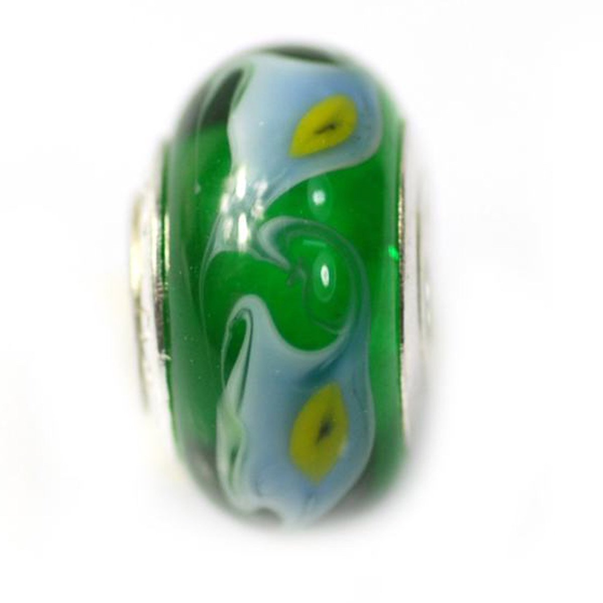 De Buman Glass Green, Light Blue and Yellow Lily Fashion Charm Bead