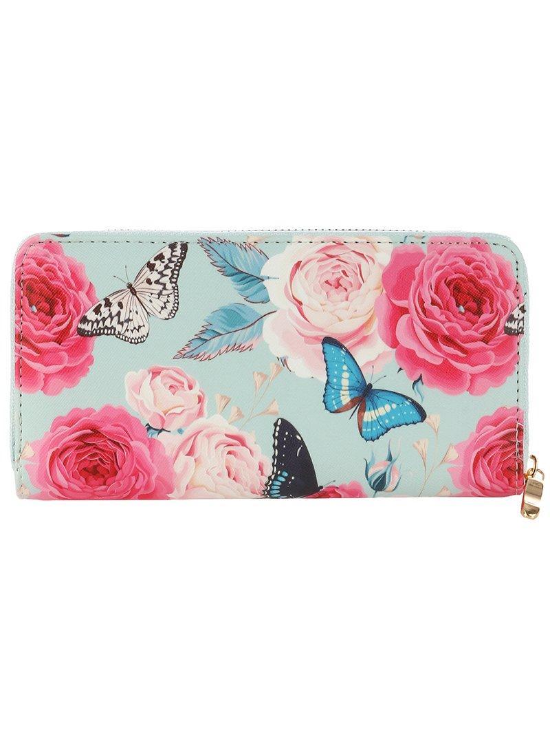 Roses Butterfly Animal Print Vinyl Clutch Wallet Bag (377106 Multi Color)