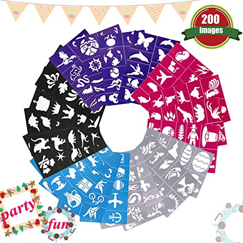 Buluri 200 Pack Face Paint Stencils, Body Paint Stencils, Face Paint Kit for Boys & Girls, Non-Toxic Reusable Adhesive Face Painting Supplies for Birthday Party, Christmas, Halloween, (Face Painting For Beginners Halloween)