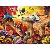Bits and Pieces - 500 Piece Jigsaw Puzzle for Adults - Autumn Birdbath - 500 pc Forest Animals Jigsaw by Artist Larry Jones