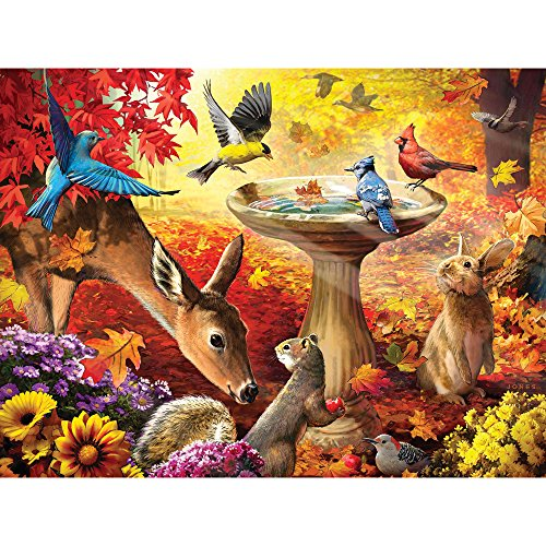 Bits and Pieces - 500 Piece Jigsaw Puzzle for Adults - Autumn Birdbath - 500 pc Forest Animals Jigsaw by Artist Larry Jones (500 Piece Puzzles Birds)