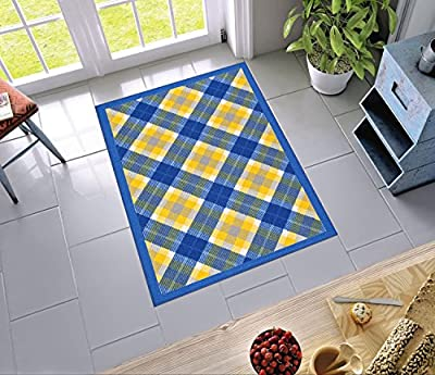 """Central Circles and Squares Blue Geometric 18"""" x 31"""" Mat ( Non Slip - Machine Washable ) Rubber Backed Kitchen Bathroom Entry Accent Rug"""