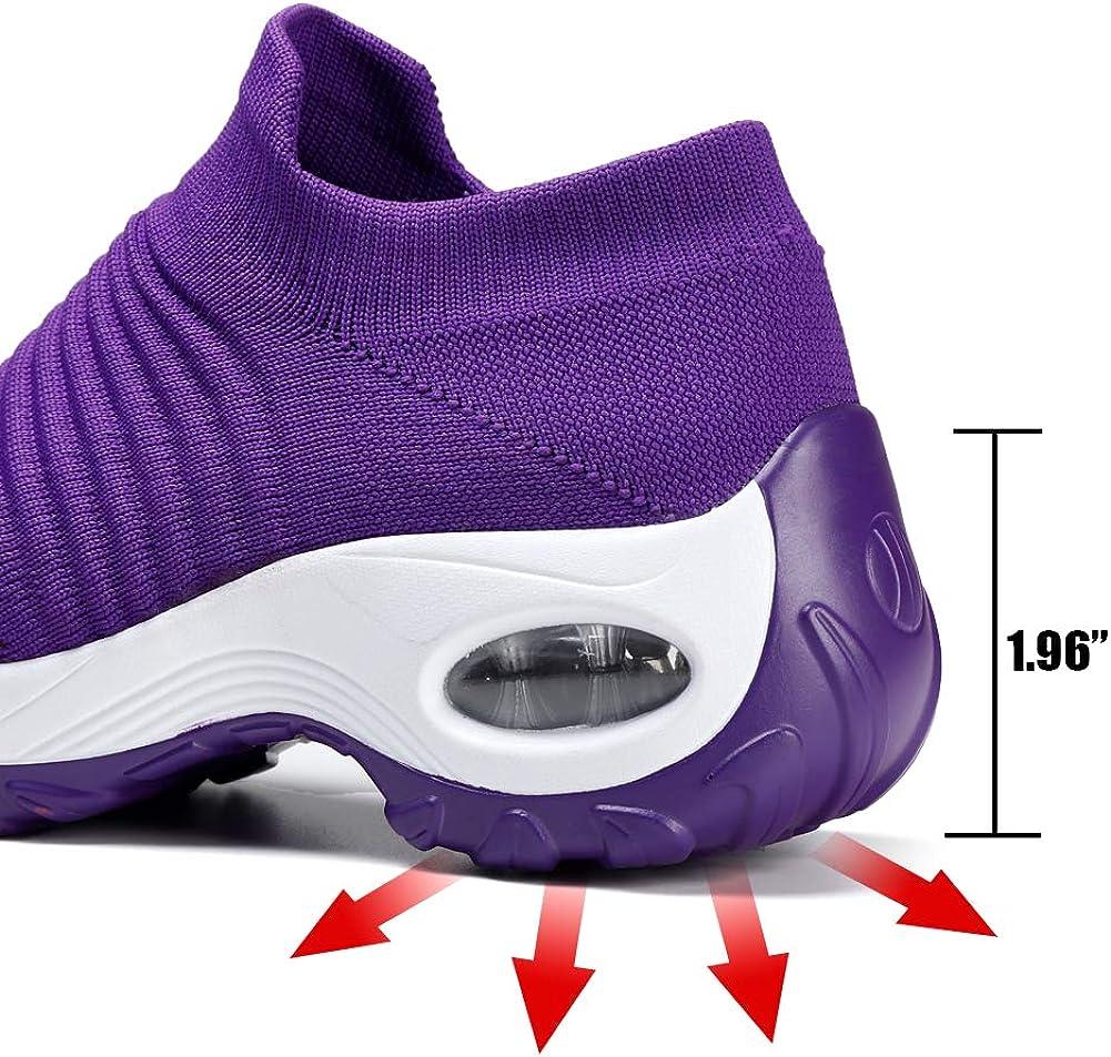 STQ - Chaussures de marche sans lacets pour femme, tennis confortables à semelle compensé, en maille légère et respirante Violet