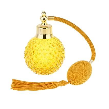 Accesorios Decorativos Botella Perfume Cristal Vidrio con Tubos Atomizador Aerosol Retornables - Amarillo