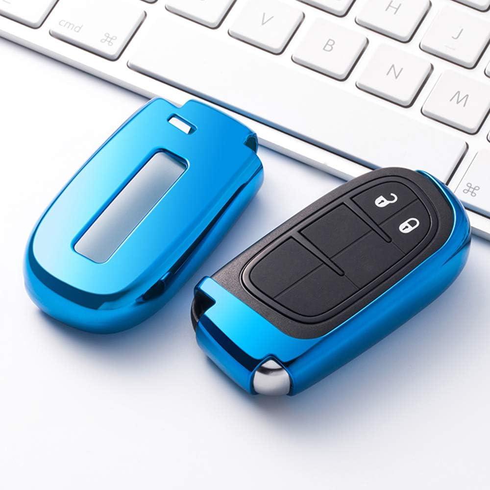 Für Jeep Schlüsselanhänger Schlüssel Schutzhülle Für Jeep Grand Cherokee Dodge Journey Dodge Dart Chrysler Dodge Challenger Dodge Charger Dodge Durango Blau Bekleidung