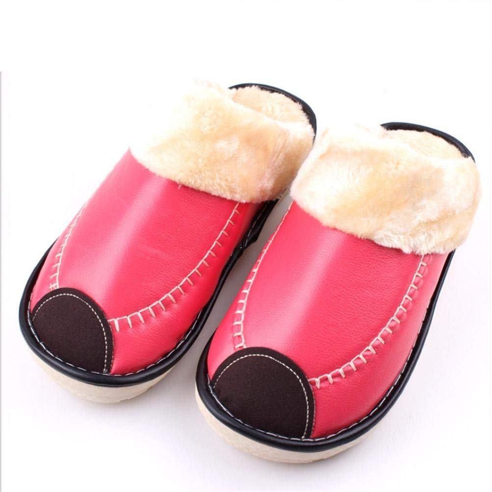 4 JaHGDU Household Cotton Slippers Ladies Waterproof Non-Slip Artificial Leather for Fall Winter Keep Warm Yellow Pink Red bluee Slippers