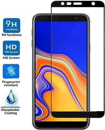 REY - Protector de Pantalla Curvo para Samsung Galaxy J4 Plus 2018 / J6 Plus 2018 / J4 Core, Negro, Cristal Vidrio Templado Premium, 3D / 4D / 5D: Amazon.es: Electrónica