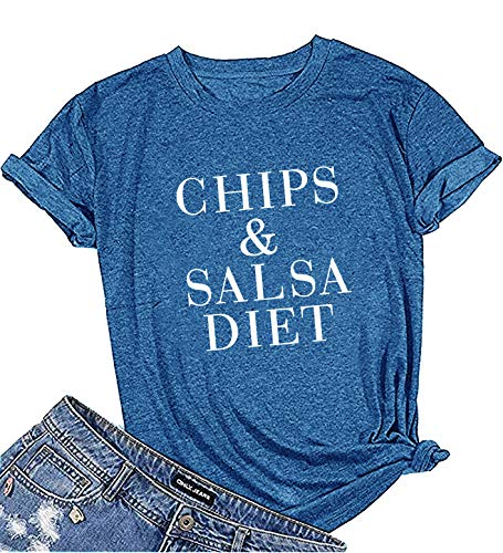 (YEXIPO Women's Chips and Salsa Diet Graphic Tees Funny Mexican Food Fitness T Shirts Yoga Cinco de Mayo Workout Tops (Large,)