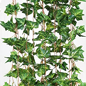 ShineCozy Fake Plant Artificial Ivy - 12 Pack 84 Ft Garland Fake Ivy Hanging Vine Foliage Green Leaves Plant for Wedding Party Outdoor Garden Wall Decoration 42