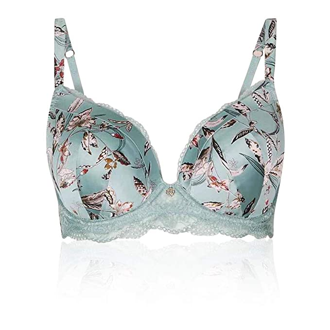 MARKS /& SPENCER M/&S FLORAL LILAC PRINT PADDED NON-WIRED PLUNGE BRA 32 34 36 38 #