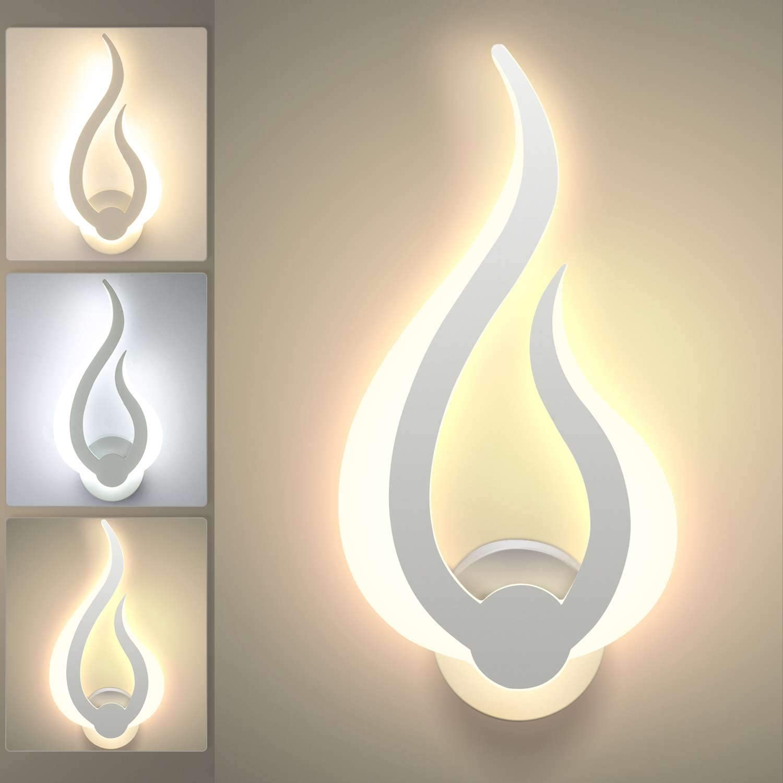 Lightess Apliques de Pared LED Regulable 3 Temperatura de Color Interior 10W Lámpara de pared Moderno Forma de Llama Luz de Aluminio y Acrílico Iluminación para Sala de Estar, Dormitorio, Pasillo