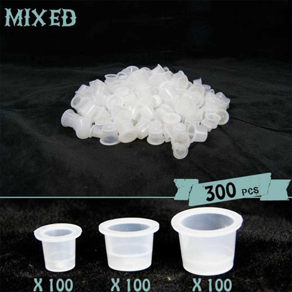 ATOMUS Tattoo Ink Caps Cups 300 pcs Mixed Sizes #9 Small #13 Medium #16 Large Disposable Plastic Permanent Makeup Pigment Accessories Holder