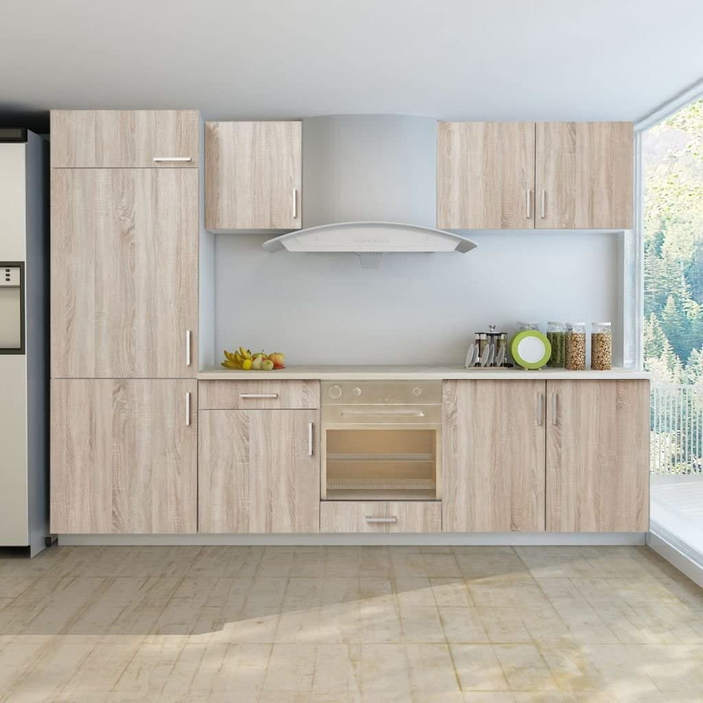 Lingjiushopping - Armario de cocina (7 unidades, aspecto de roble, para armario de nevera integrado, 1 unidad superior para nevera integrada: 60 x 60 x 118 cm): Amazon.es: Bricolaje y herramientas