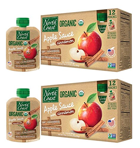 - North Coast Organic Apple Sauce with Cinnamon 12ct Pouches (Pack of 2)