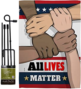 "All Lives Matter Garden Flag Set with Stand Support Cause BLM Anti Racism Revolution Movement Equality Social House Decoration Banner Small Yard Gift Double-Sided, 13""x 18.5"", Thick Fabric"