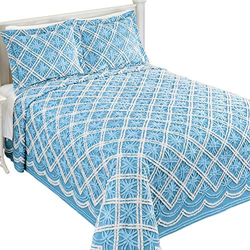 Blue Garden Bedspread - Collections Etc Mandy Chenille White and Blue Double Tufted Diamond and Wedding Ring Pattern Bedspread, Blue, Twin