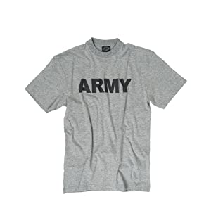 TEE SHIRT GRIS CHINE COL ROND ET MANCHES COURTES IMPRIME ARMY NOIRE MILTEC 11063008 AIRSOFT ARMEE US TAILLE M