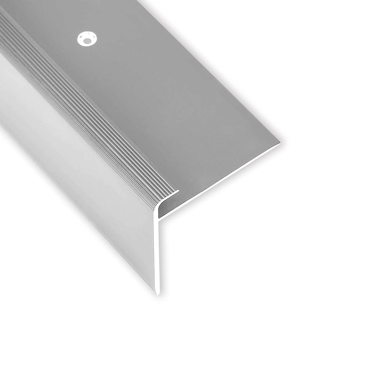 silber 100 cm Toolerando Treppenkantenprofil Schraubmontage F-Form 53 x 50 mm