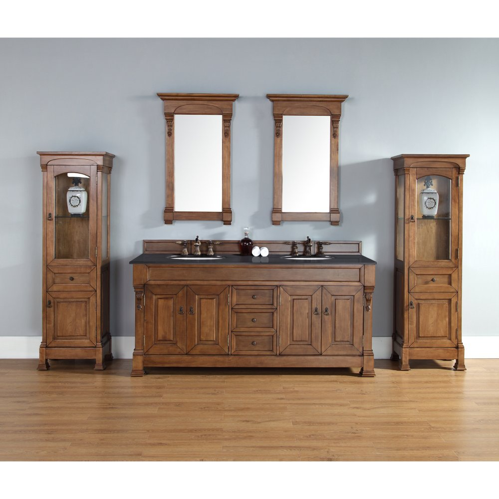 James Martin 147-114-5771-GLB Brookfield 72'' Country Oak Double Vanity with Galala Beige Stone Top