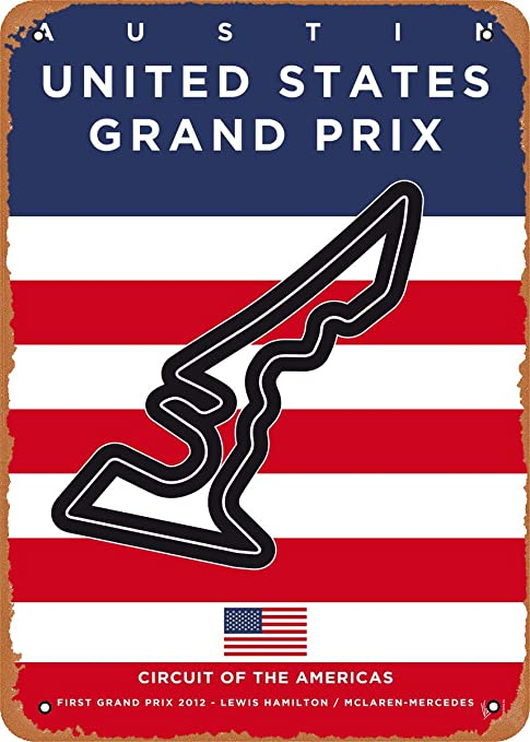 Wanfst Vintage Look Metal Sign - My F1 Racetrack Posters My F1 Austin Race Track - 8 x 12 Tin Sign