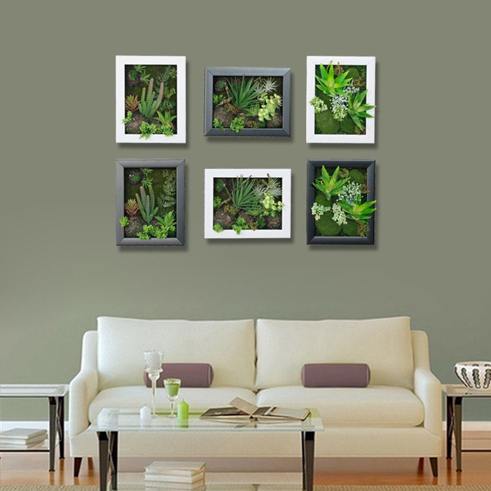 3D Artificial Flowers Wall Hanger Succulent Plants Aloe Green Leaves Grass Moss Stone with Imitation Wood Photo Frame Shape Vase Home Decoration, White Frame, 7.87 in9.84 in by Artificial Flower-Wall Hanger (Image #3)