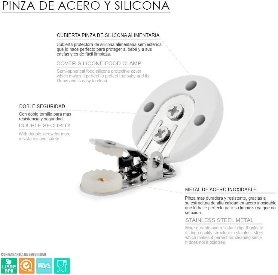Kit 2 pcs Chupetero con nombre personalizado con pinza y bola silicona antibacteria para bebe Rosa Pastel RUBY Env/ío urgente gratis
