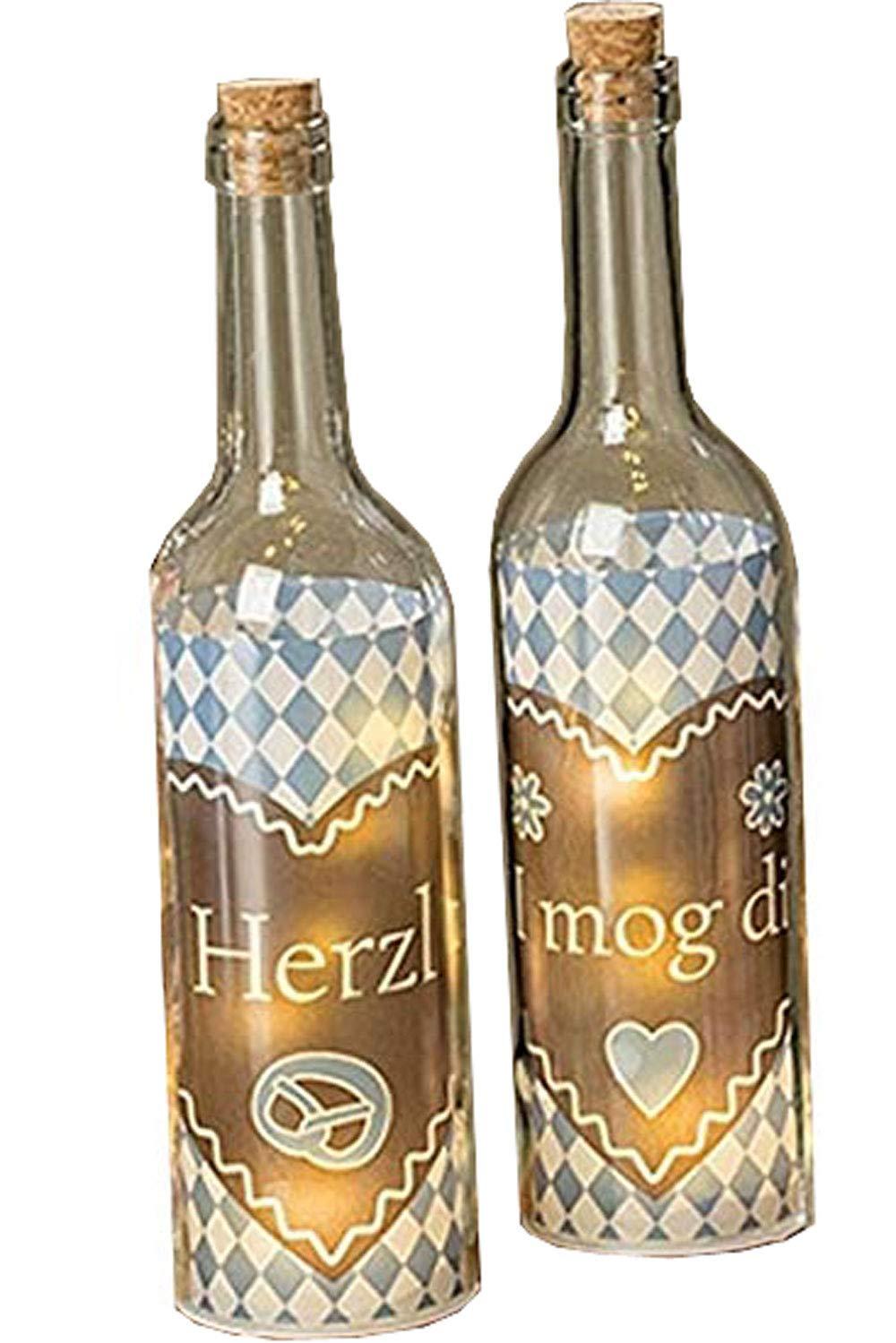 Boltze Juego de 2 LED botellas Herzl Azul H 30 cm aprox ...