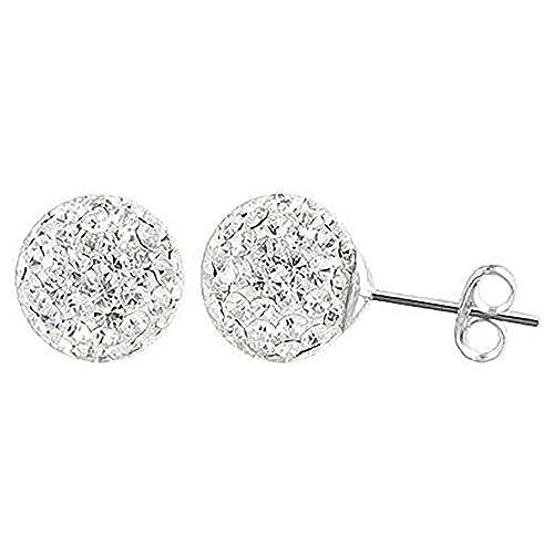 acquisto economico 40085 fe407 4 mm scintillante bianco disco Ball Shamballa in argento ...
