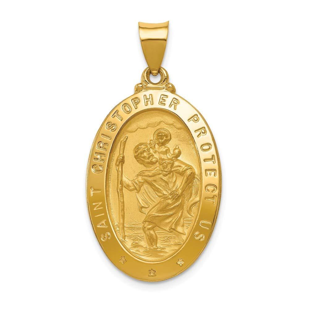 Christopher Medal Pendant Mia Diamonds 14k Yellow Gold Polished and Satin St