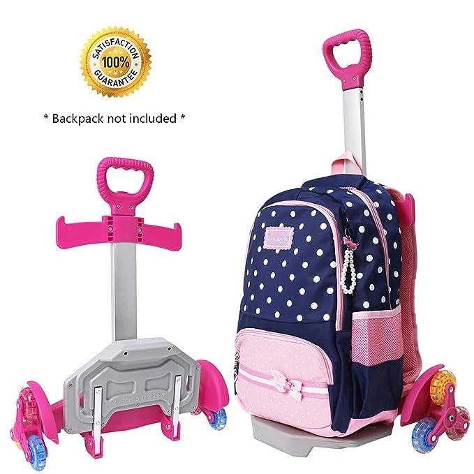Amazon.com   Wheeled Backpack Cart, Aluminium Alloy Folding Trolley Cart for Backpack (Pink, 6 Wheels)   Kids Backpacks