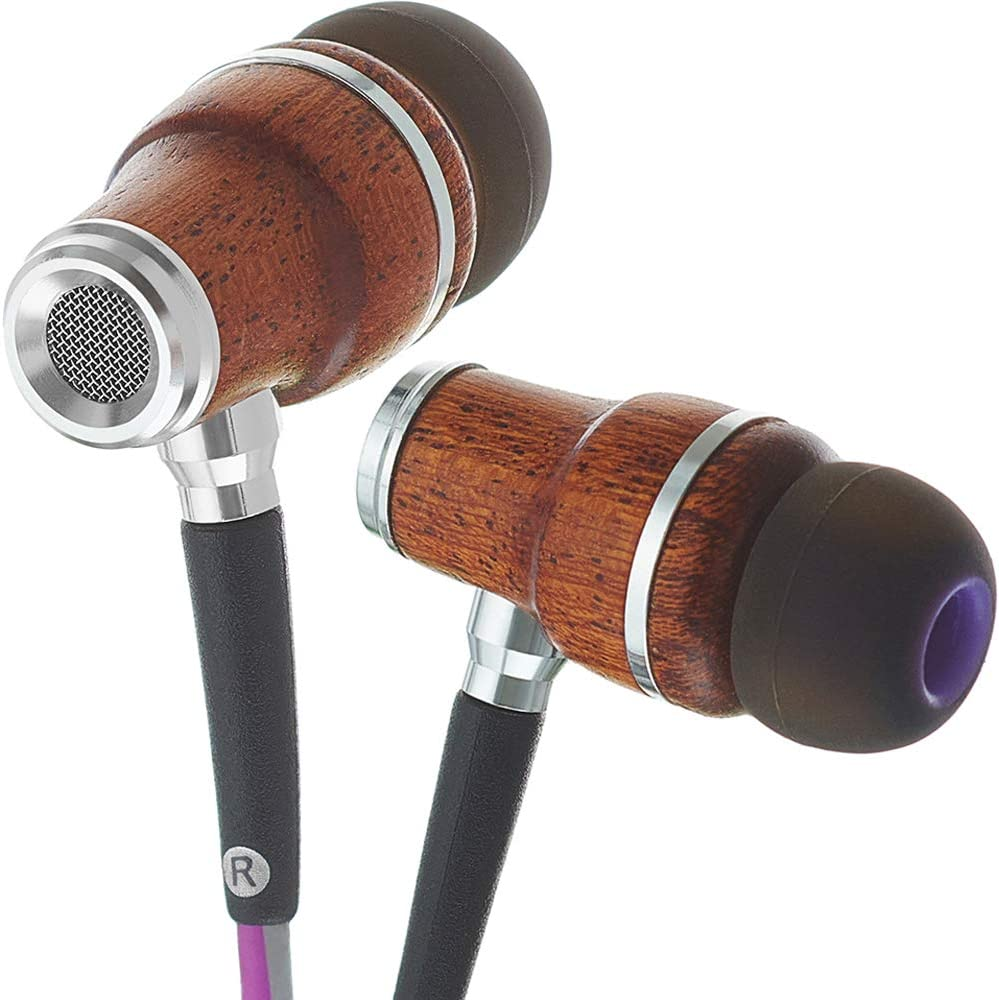 Amazon Com Symphonized Nrg 3 0 Wood Earbuds Wired In Ear Headphones With Microphone For Computer Laptop Ear Phones For Android With Stereo Sound Purple Gray
