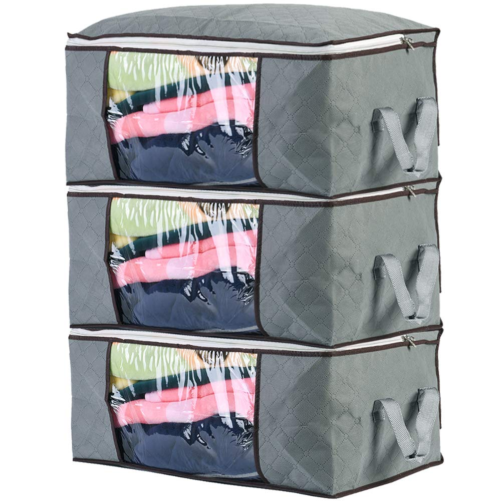 3 Pcs Grey Breathable Clothing Blankets Storage Bag Organizer with Handle and Clear Window for Comforter, Blanket, Clothes, Tidy Up Your Closets by ComboCube