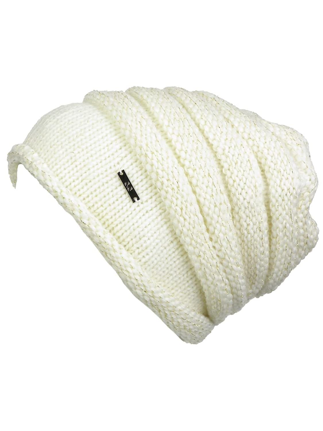 Women's Winter Ribbed Knit Beanie Skull Hat Cap with Metallic Gold Tone Threads