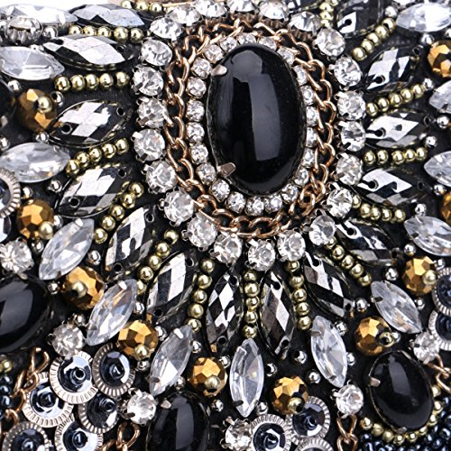 Clutch Party Evening Black Pearl For Women Purse Embroidery Rhinestone Womens And Wedding Bag Package Rhinestone Dinner nIZwxd6qI4