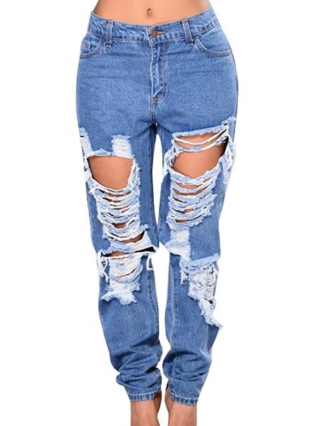 Gladiolus Mujeres Vaqueros Elasticidad Grande Löcher Jeans ...