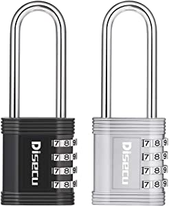 Disecu 2.7 Inch Long Shackle 4 Digit Combination Lock and Outdoor Resettable Weatherproof Padlock for Gym Locker, Cooler, School, Hasp Cabinet, Gate (Black and Silver, Pack of 2)