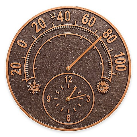 Whitehall Products 14-Inch Solstice Outdoor Clock and Thermometer in Antique Copper