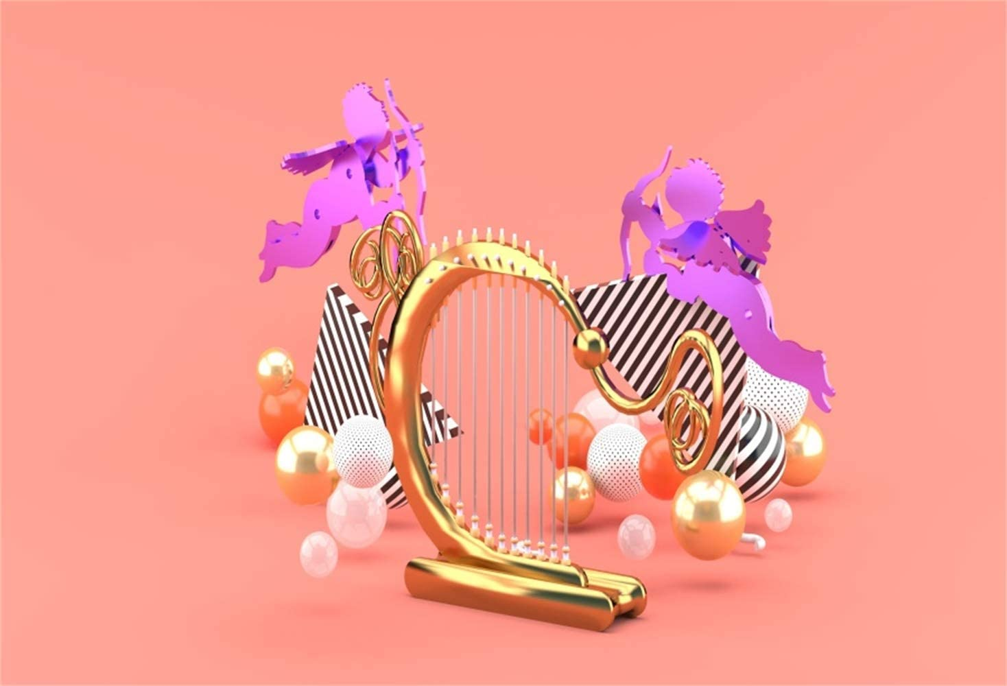 Vinyl 10x7ft Creative Valentines Day Photography Background Golden Harp Purple Cupid Models Balls 3D Artifact OrangeRed Backdrops Lovers Couples Portraits Shoot Party Decoration