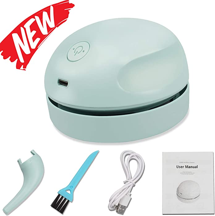 Desktop Vacuum Cleaner USB Charging with Vacuum Nozzle Cleaning Brush, Detachable Design & Portable Mini Table Dust Vaccum Cleaner, Best Cleaner for Cleaning Dust, Crumbs, Piano, Computer, Car Etc