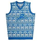 KLEW NFL Detroit Lions Ugly Sweater Vest, Medium, Blue