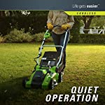 Greenworks 16-inch 10 amp corded electric lawn mower 25142 & 24012 7 amp 160 mph single speed electric blower, black and… 15 g-max 40v 4ah li-ion battery (model 29472) powers multiple tools for complete yard work system--includes 1-4ah battery and charger single lever 5-position height adjustment offers cutting height range from 1-1/4 inch to 3-3/8-inch for the best cut in all environments 2-in-1 feature offers rear bagging and mulching capability for multiple use. Cuts 400m2 on a single charge. Nice even cut for all grass types