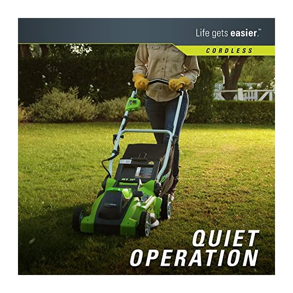 Greenworks 16-inch 10 amp corded electric lawn mower 25142 & 24012 7 amp 160 mph single speed electric blower, black and… 6 g-max 40v 4ah li-ion battery (model 29472) powers multiple tools for complete yard work system--includes 1-4ah battery and charger single lever 5-position height adjustment offers cutting height range from 1-1/4 inch to 3-3/8-inch for the best cut in all environments 2-in-1 feature offers rear bagging and mulching capability for multiple use. Cuts 400m2 on a single charge. Nice even cut for all grass types