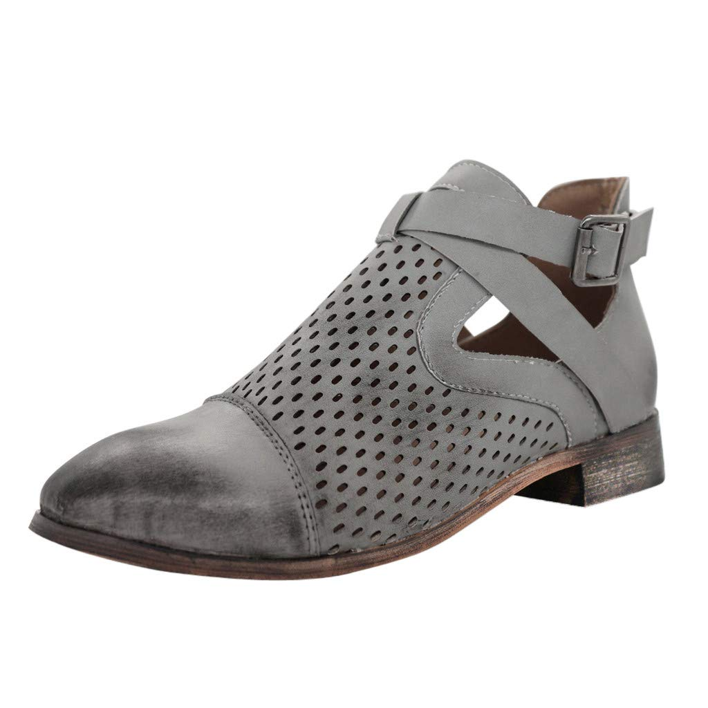 【MOHOLL 】 Women's Rivet Hollow Out Buckle Ankle Short Chunky Heel Boots Shoes Pointed Toe Low Block Heel Zip Up Boot Dark Gray by ✪ MOHOLL Shoes ➤Clearance Sales