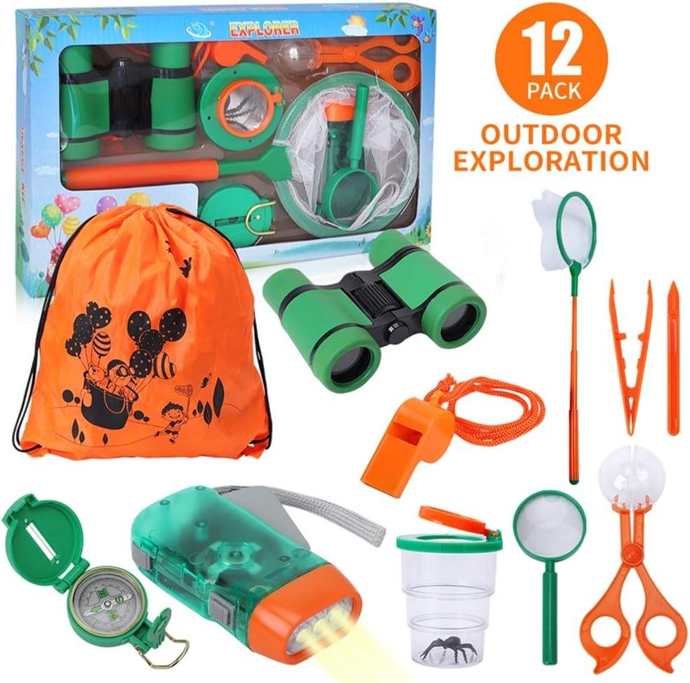 Lehoo Castle Kit de Explorador para Niños, Set de Juguetes al Aire Libre 12 Piezas, Kit Aventura con Binoculares Lupa para Acampada y Senderismo