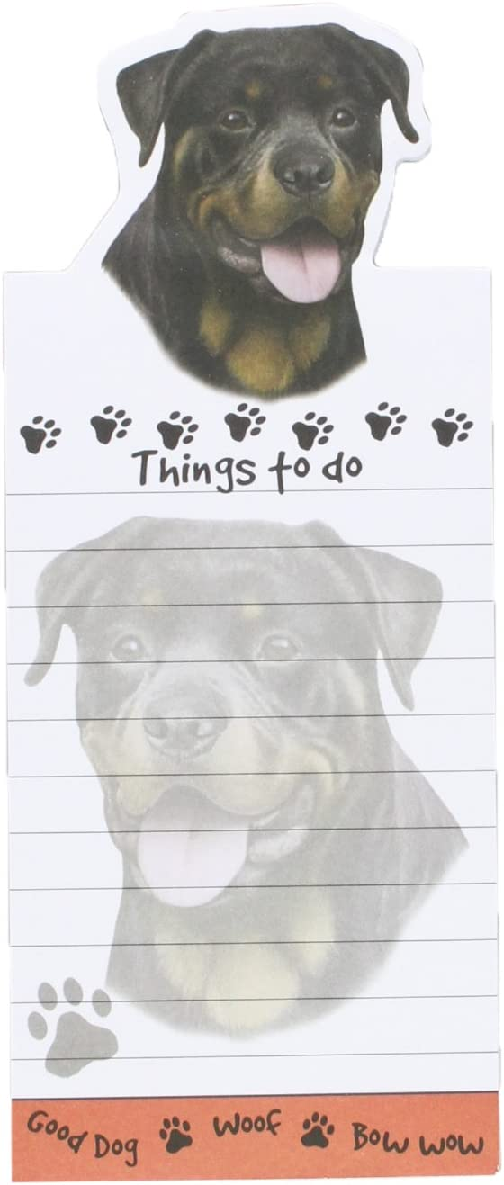 """""""Rottweiler Magnetic List Pads"""" Uniquely Shaped Sticky Notepad Measures 8.5 by 3.5 Inches"""