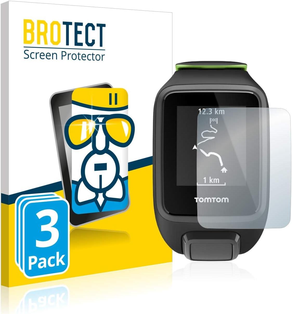 BROTECT Protector Pantalla Cristal Compatible con Tomtom Runner 3 Protector Pantalla Vidrio (3 Unidades) - Dureza Extrema, Anti-Huellas, AirGlass